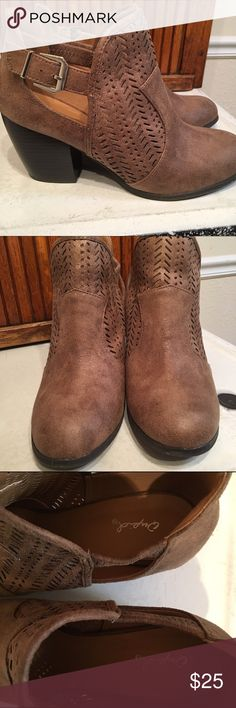Qupid Bootie Cut out perforated chunky heel bootie in taupe. This booties are adorable with leggings, dresses and skirts. Perfect for fall. 3 inch heel. Worn once. Still have box. Sadly, it's too much heel for me, so I need to sell. Qupid Shoes Ankle Boots & Booties