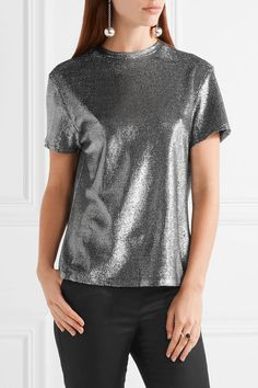 Silver viscose-blend  Slips on  54% viscose, 35% modal, 11% polyester Specialist clean Imported