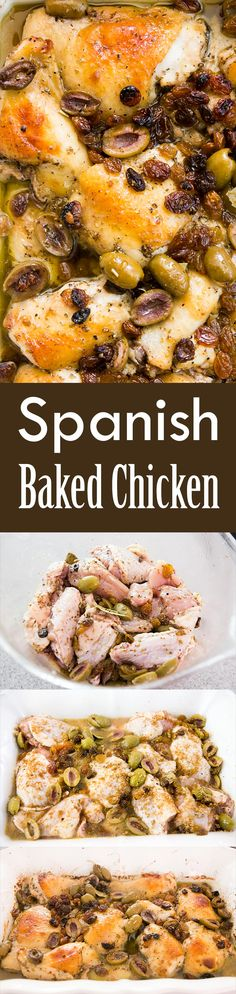Spanish Baked Chicken, or Pollo Estofado, is so good! Chicken pieces marinated then baked in a vinaigrette with wine, raisins, olives. 1-pot, easy baked chicken.
