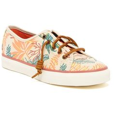 Sperry Seacoast Seaweed Print Sneaker ($40) ❤ liked on Polyvore featuring shoes, sneakers, sand multi, laced up shoes, lacing sneakers, lace up shoes, patterned shoes and rubber sole shoes
