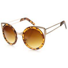 512b8dfa72 Women s Indie Round Unique Cat Eye Cut Out Sunglasses 9845