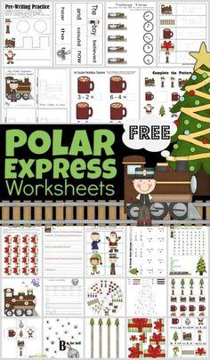 Free Printable Christmas Worksheets, Christmas Worksheets Kindergarten, Shape Worksheets For Preschool, Math Activities For Kids, Classroom Activities, Polar Express Kid, Polar Express Crafts, Polar Express Activities, Christmas Books For Kids