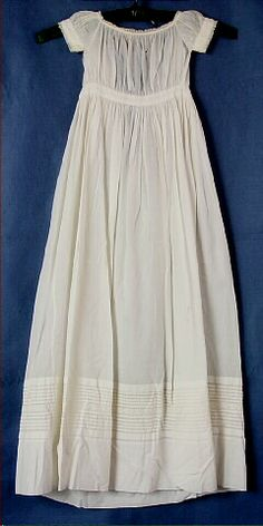 Dress, baby's, white cotton lawn, gathered sleeves, bodice and skirt, c. 1860