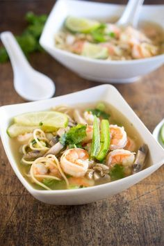 Spicy Shrimp Pho - a twist on the traditional Vietnamese #soup made with hot steaming chicken broth, #shrimp, cilantro and fresh squeezed #lime juice.