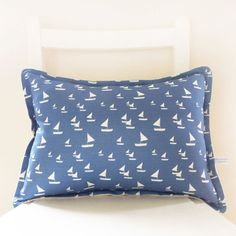 oblong sailboats linen cushion | Charlotte Macey, England #sailboats #linen #cushion #home #sea