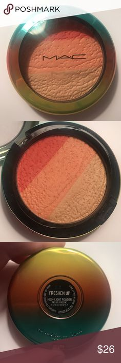 MAC Limited edition Wash & Dry collection by MAC High-Light Powder in Freshen Up. 0.317 us oz, warm- toned highlighter housing three satiny shades in one pan — a deep pinkish coral, a peachy coral and a yellow gold. Top layer of shimmer is gone. No box, like new, was swatched. I would say this is more of a blush then a high lighting powder. MAC Cosmetics Makeup Luminizer