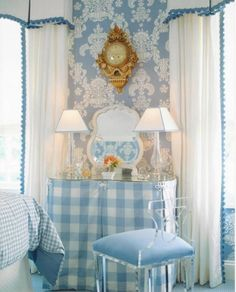 The Blue and White Club meeting is on! - The Enchanted Home. Could do this in our bedroom, pending more furniture Bedroom Nook, Master Bedroom, Interior Styling, Interior Design, Hand Painted Wallpaper, New England Farmhouse, Enchanted Home, White Rooms, White Bedroom