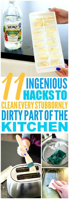 These 11 kitchen cleaning hacks and tips are THE BEST! I'm so glad I found these AWESOME tips! Such great life hacks for keeping things clean! Definitely pinning!