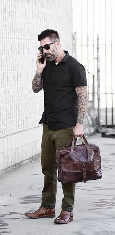Casual work trip ahead! Dress up any casual office look with zip brown boot by BEDSTU with a matching brown satchel.