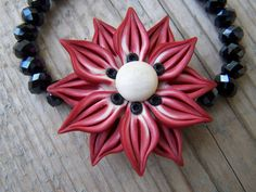 Beautiful Polymer Clay Flower Crystal Stretch by gristmilldesigns