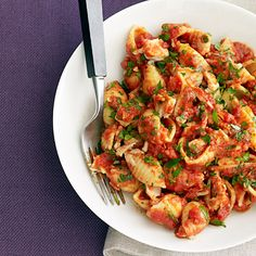 tuna and tomato pasta.  just made this with some GF penne.  thank you, rachael ray!