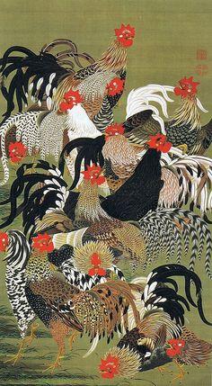 Itō Jakuchū (伊藤 若冲), (Japanese, 1716–1800): a painter of the mid-Edo period whose work focused on themes taken from traditional Japanese life.tumblr_ml8mqbeLhx1rlobeho1_1280.jpg (500×911)