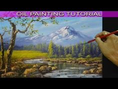 Oil Landscape Painting Tutorial Running Shallow River from Snowy Mountain using Palette Knife - YouTube