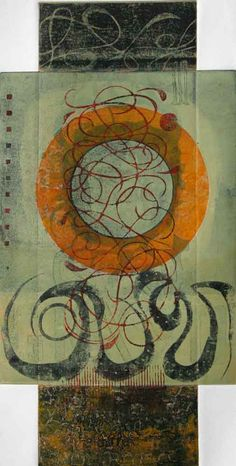 "Cummulative Effect,  by Anne Moore, monotype, 24""X12"""