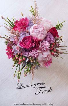 Pink, fuschia, lavendar bouquet from LemongrassWedding Prom Flowers, Bridal Flowers, Flower Bouquet Wedding, Floral Wedding, Wedding Decor, Beautiful Flowers, Pink Bouquet, Floral Bouquets, Beautiful Flower Arrangements