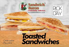 Winter Warmer! Our pick of the Day! Nothing beats a toasted Sandwich. #pickoftheday #winterwarmer #sandwichbaron #hungry Toast Sandwich, Banting, Winter Warmers, Baron, Beats, Sandwiches, Lunch, Breakfast, Food