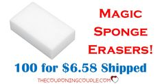 WOW!! Get 100 Magic Sponge Erasers for only $6.58 shipped! Great for cleaning tires, patio furniture, and all your other cleaning needs!  Click the link below to get all of the details ► http://www.thecouponingcouple.com/100-magic-sponge-erasers-for-only-7-09-shipped/  #Coupons #Couponing #CouponCommunity  Visit us at http://www.thecouponingcouple.com for more great posts!