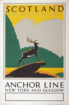 TX43 Vintage 1930's Scotland Anchor Line Travel Poster Re-Print A1/A2/A3 | eBay