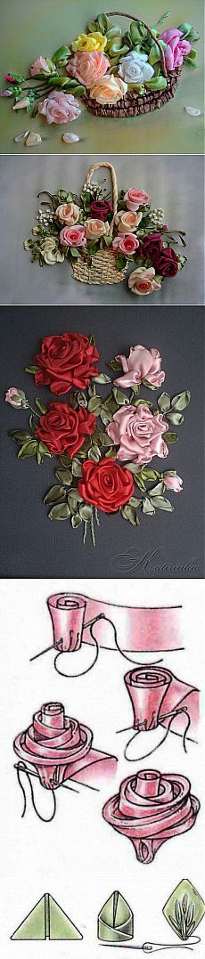 мастерство Great visual for sewing ribbon roses. Ribbon Embroidery Tutorial, Silk Ribbon Embroidery, Cross Stitch Embroidery, Embroidery Patterns, Hand Embroidery, Leather Embroidery, Ribbon Art, Ribbon Crafts, Ribbon Rose