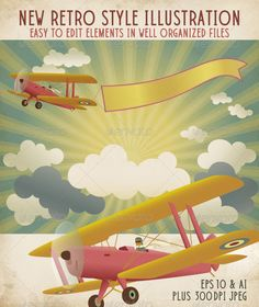 A fresh and simple graphic illustration in a modern retro style of a biplane flying through the clouds in a radiant sky. It is pul