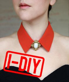 4 DIY Collar necklace or how to spruce up vintage collared shirts with studs or collar caps or cut the collar off but a beutiful broach & do as in pic!  with full tutes!
