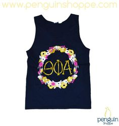 JUST IN! NEW Navy Flower Wreath Tank--you can't go wrong in a floral wreath! Penguin Shoppe 19.50