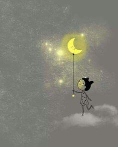 Holly Hatam Illustration and Design Mode Poster, Moon Shadow, Moon Illustration, Sun And Stars, Good Night Moon, Beautiful Moon, Moon Art, Whimsical Art, Art Plastique
