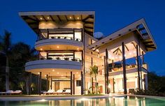 Beautiful homes: This modern villa near Flamingo Beach, Guanacaste . Houses Architecture, Modern Architecture, Million Dollar Homes, Big Houses, Modern Houses, Contemporary Houses, Glass Houses, Fancy Houses, Contemporary Bathrooms