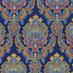 Again this rich blue background with vibrant contrasting colors. I would subtract more of the orange and add rich rose colors and sophisticated greens (in small amounts) Motif Paisley, Motif Floral, Paisley Design, Paisley Fabric, Textile Prints, Textile Design, Fabric Design, Textures Patterns, Fabric Patterns
