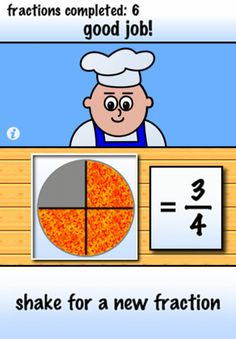 In chef's pizzeria your child masters the concept of naming simple fractions using pizza picture examples. Designed for grade levels 2-6, Pizza Fractions provides introductory practice with fractions in an approachable game-like environment.