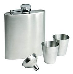Set: hip flask, 2 cups, funnel by VISTABLE. $24.00. Gift set: 180ml hip flask, two cups and funnel. Elements are made of stainless steel, packed into a black cardboard box.