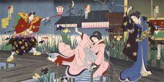 Image Title: Kakitsu, Kikugoro and Nakamura Fukusuke in garden  Artist: Yoshu Chikanobu  Creation Date: 1887-01  Nationality:…