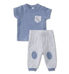 Zweiteiliges Baby-Erstlingsoutfit in blau-melange