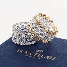 BUCCELLATI The Lovely Couple - Eternelle rings in white and yellow gold with diamonds. Gems Jewelry, Diamond Jewelry, Fine Jewelry, Jewlery, Ring Set, Love Ring, Wedding Accessories, Jewelry Accessories, Jewelry Design