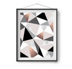 Copper Blush Marble Black Gray Print Abstract Art Geometric