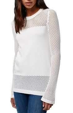 Topshop Pointelle Panel Sweater available at #Nordstrom