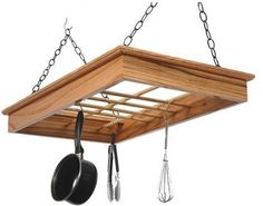 """Solid Red Oak Pot n Pan Rack - Natural (Natural) (3.5""""H x 33""""W x 20""""D) by Laurel Highlands Wood Shop. $177.00. Unique molding compares to fine furniture. Color: Natural. Attractive, high quality. 12 Hooks for hanging cookware. Size: 3.5""""H x 33""""W x 20""""D. This spectacular Pot n Pan Rack is crafted from solid Red Oak. The beams are 1/2"""" birch. Each rack is screwed together and glued for maximum strength, and of course, each is hand sanded and finished in two coats of urethane. Twel..."""