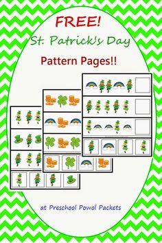 {FREE} St. Patrick's Day Preschool Patterns | Preschool Powol Packets