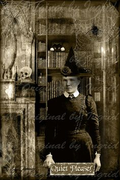 Haunted+Library+Digital+Collage+Greeting+by+anoriginalbyingrid,+$5.00