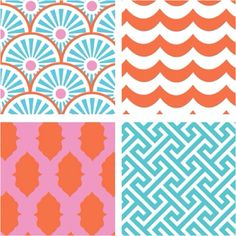 Adorable coral and teal prints