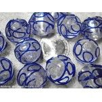 (Qty 12) Drizzle Trail COBALT BLUE 19mm Very Large Glass Beads (Batch 15)