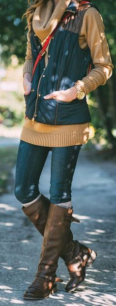 NATURAL - Navy Blue Puffer Vest, Cowl Neck Tunic with Riding Boots by Sequins and Things -- normally I hate puffer vests but I LOVE this outfit Looks Chic, Looks Style, Style Me, Fall Winter Outfits, Autumn Winter Fashion, Winter Fashion Boots, Winter Wear, Winter Style, Look Fashion