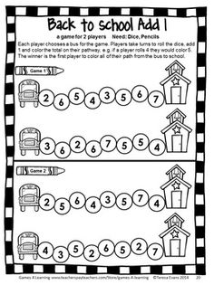 Back to School Math Games First Grade by Games 4 Learning for the busy Back to School time! This collection of back to school math games contains 14 printable games that review a variety of kindergarten skills. $