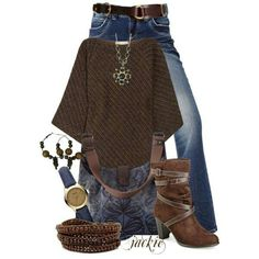 sweater and jeans - cute!  like the jewelry too though that's steeping out for me...