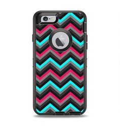 The Sharp Pink & Teal Chevron Pattern Apple iPhone 6 Otterbox Defender Case Skin Set