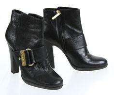 Calvin Klein Black Leather Halie Side Zip Emblem Buckle Bootie 7M #CalvinKlein #Booties