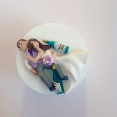 Wedding Cake Topper Drunk Bride And Groom Unique Hand Crafted Figure Novelty Suitable For Mounting In Box Frame