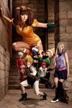 Meliodas, Elizabeth Liones, Diane, Ban, King, Merlin, and Gowther - The Seven Deadly Sins
