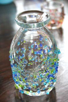 琉球ガラス/つぶつぶとっくり 青