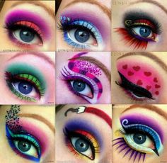 Intense colorful eye makeup, suitable for a rave!!
